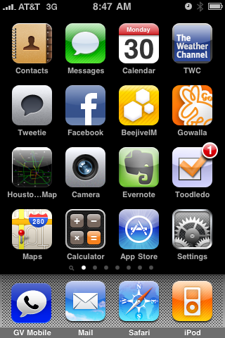 mkoby's iPhone Home Screen
